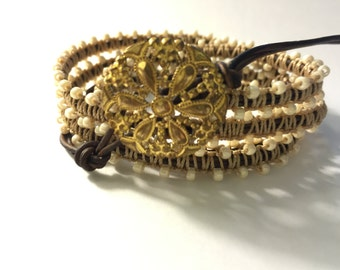 Leather Wrap Bracelet/ Beaded Macrame / Vintage Button Brass Flower Filigree Closure/ Brown and Cream Tones / Boho Western Chic Style