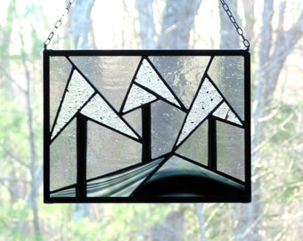 Abstract winter landscape, black and white, nature window art, geometric trees, stained glass, home decor, winter trees suncatcher panel