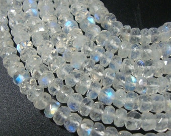 AA Rainbow Blue Fire Moonstone Faceted Rondelles, Fine Quality, 1/2 strand, 3.5mm, sale