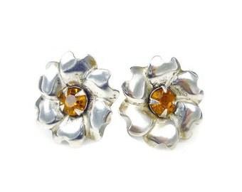 Sterling Silver Earrings, Topaz Amber, Rhinestones, Flower Floral, November Birthday, Vintage Jewelry