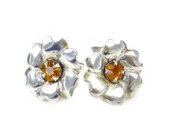 Sterling Silver Topaz Rhinestone Flower Earrings - Amber Rhinestone, Flower Floral, Vintage Earrings, Vintage Jewelry, November Birthday