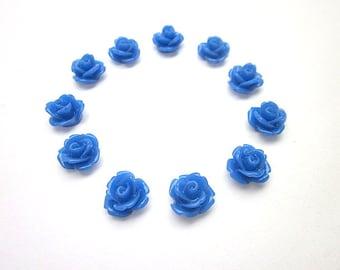 Dark Blue Flower Supply -- Blue Cabochons -- Wholesale Mini Flower Supplies -- Dark Blue Roses -- DIY Flower Pieces -- Mini Rose Flowers