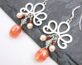Orange and Silver Earrings -- Pearl & Carnelian Earrings -- Orange Charm Earrings -- Peach and Orange Earrings -- Colorful Bead Earrings
