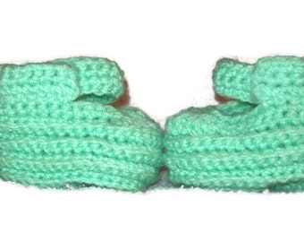 Baby Booties  Or Doll Shoes In Mint Green Size 6-12 Months Velcro Strap Baby Shoes