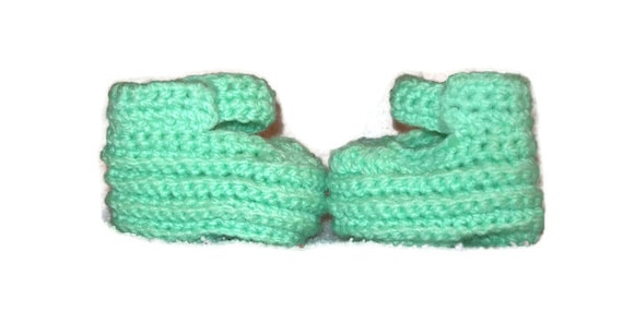 Baby Booties Doll Shoes In Mint Green Size 6-12 Months