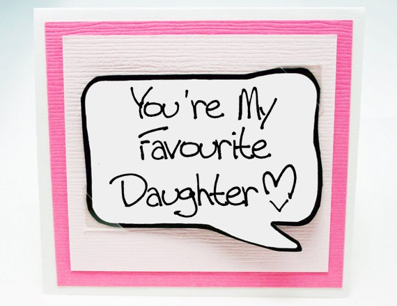 Daughter Card Funny Birthday Card for Daughter Pink Note
