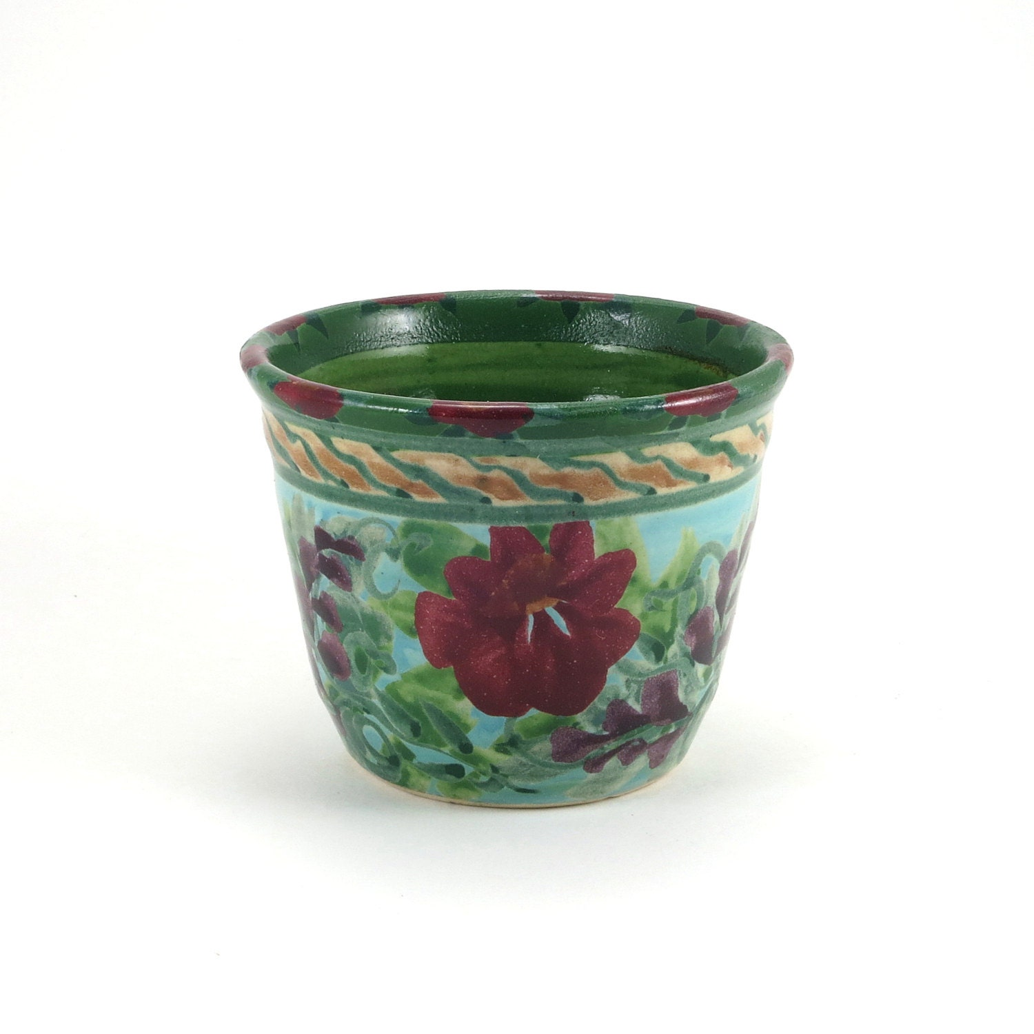 Small turquoise ceramic flower pot planter with by SandyKreyer