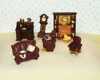 Reduced Vintage Miniature Dollhouse Furniture, Living Room, Resin