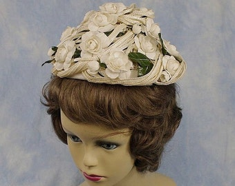 Vintage 60s Amy Ribbons and Flowers Toque or Pixie Pillbox Hat with Hat Box
