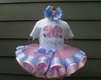 Custom tutu..RIBBON trimmed deluxe tutu set..BUTTERFLY SPARKLE tutu set,princess, birthday, 3 month-3T,costume, first birthday, appliqued
