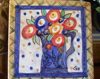 Hand Painted Ceramic Majolica Tile