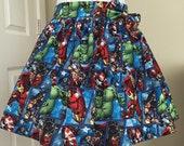 """Sample SALE- 32"""" waist band-Avengers Comics Skirt- Lolita inspired ruffled skirt, custom made"""