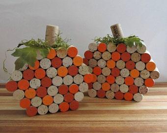 Wine Cork Pumpkins - Fall, Autumn, Centerpiece, Halloween Accents, Rustic Home Decor - Set of 2