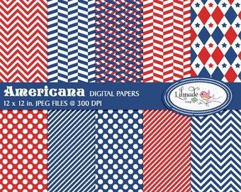 Americana July 4th digital papers, Independence Day scrapbook paper, Americana digital papers, commercial use, P243
