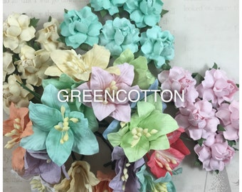 30 mixed Pastel mulberry paper flowers code  PAS/L426