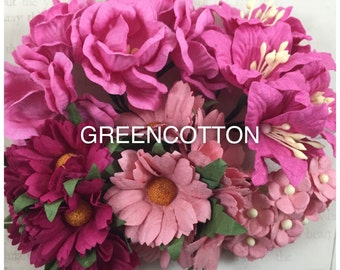 30 mixed Pink mulberry paper flowers code  Pink-LRS