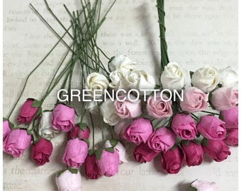 20 Mixed Pink and white Color Mulberry Paper Rose buds flowers code  PinkWH-Rosebuds