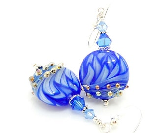Blue Earrings, Glass Earrings, Lampwork Earrings, Glass Beads Jewelry, Beadwork Earrings, Unique Earrings, Lampwork Jewelry, Lotus Flower
