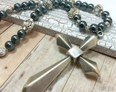 Black Pearl Cross Necklace Gypsy Cowgirl Boho Bohemian Silver Christian Faith Beaded Jewelry Goth Statement Necklace