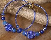 Reserved for Risa 5# dangle hoops,  Blue Berries , vintage plastic, dyed jade
