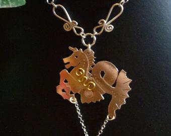 Sea horse Hippocampus necklace silver squarehare vegan free postage UK celtic
