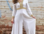 vintage white disco jumpsuit / wide leg, bell bottoms, gold and silver metallic, satin, boogie nights, back tie, long sleeves