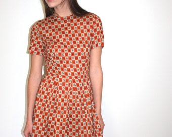 1950s patriotic novelty print day dress