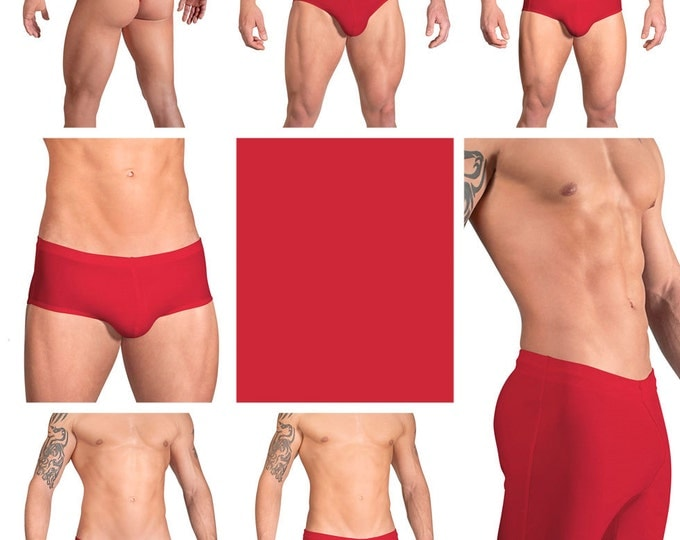 Solid Red Swimsuits for Men by Vuthy Sim.  Choose Thong, Bikini, Brief, Squarecut, Boxer, or Board Shorts - 05