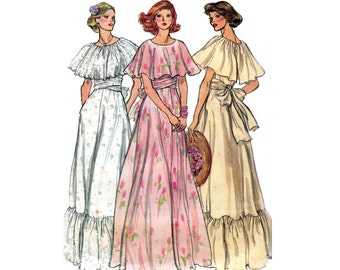 1970s Ruffled Maxi Dress Pattern Vogue 9781 Capelet Trim Peasant Dress Vintage Sewing Pattern Size 12 Bust 34 inches