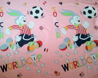 Bugs Bunny playing soccer fabric panels, cute and colorful!