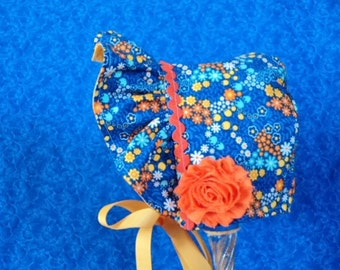 Blue Baby Bonnet with Flowers and is Reversible