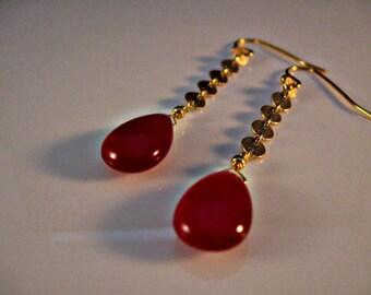 Gemstone dangle earrings, drop earrings, gemstone earrings, dangle earrings, raspberry earrings, raspberry chalcedony, chalcedony earrings