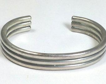 Heavy Sterling Silver Cuff Bracelet Signed Avery Sterling