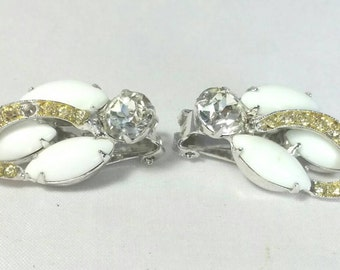 Magnificent Navette Shaped Milk Glass & Clear Rhinestone Clip Earrings Signed Weiss