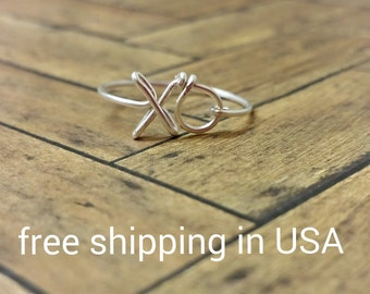 sterling silver stacking ring FREE SHIPPING  xo x o xoxo hugs and kisses