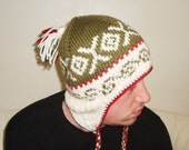 Hand Knit Hat Mens or Womens Hat - Earflap Hat in Cream Olive Green Red - Winter Fashion Winter Accessories  - WINTER SALE