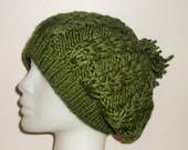 Slouchy Hat Slouchy Beanie Women hat in Dark Green Hat Dark Green Knit Hat Winter Fashion Woman gift Idea her Winter Accessories