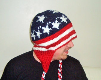 X Large Hat US American flag knit hat/beanie, America stars and stripes plus size beanie hat. Mens hat. Gifts for men Fourth of July gift