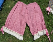 """Pink and cream floral with cream lace Cotton Bloomers, one size up to 64"""" with an elastic waist , 25"""" long"""