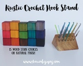 Rustic Crochet Hook Stand Pyramid 15 stains cedar wood