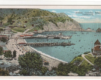 Panorama Avalon Catalina Island California 1920s postcard