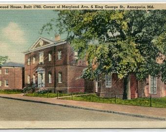 Harwood House Annapolis Maryland linen 1949 postcard
