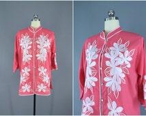Vintage 1960s Embroidered Blouse Kaftan / Boho 60s Caftan / Hawaiian Bali Cutwork / Caro of Honolulu / Size Large L