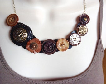 sale...Blazin in brown button necklace