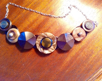 Chocolate swirl  button necklace
