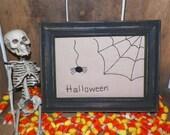 UNFRAMED Primitive Stitchery Halloween Spider and Spiderweb Country Decor Folk Art Prim Stitched Fall Autumn Spooky Decoration wvluckygirl