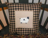 UNSTUFFED Pillow Country Home Decor Sheep Decoration Decorative Toss Throw Accent Painted Cushion COVER Primitive Lamb Rustic wvluckygirl