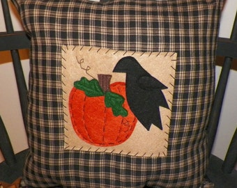 UNSTUFFED Fall Pillow COVER Primitive Crow Pumpkin Patch Decorative Autumn Harvest Halloween Country Home Decor Rustic Handmade wvluckygirl