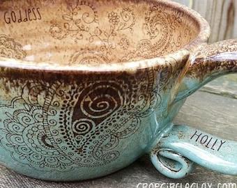 PERSONALIZED Made To Order Pottery Soup Mug Bohemian Oversized Coffee Mug Ceramic Soup Mug Crop Circle Hippie Mehndi Blue Brown Earthy
