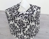 Black and white damask reversible tissue box cover